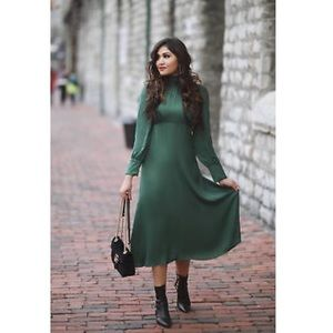 Zara Dark green satiny high neck midi dress